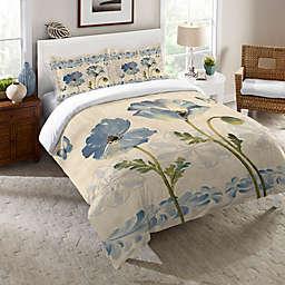 Laural Home® Indigo Watercolor Poppies Comforter in Blue