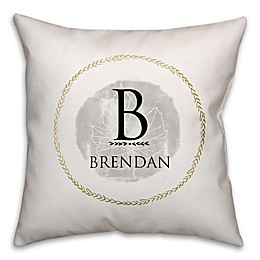 Crown and Leaf Square Throw Pillow in White/Grey