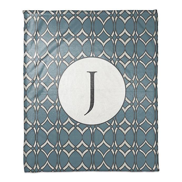 Alternate image 1 for Cool Geometric Throw Blanket in Blue/White