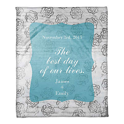"""""""The Best Day of Our Lives"""" Throw Blanket in Blue/White"""