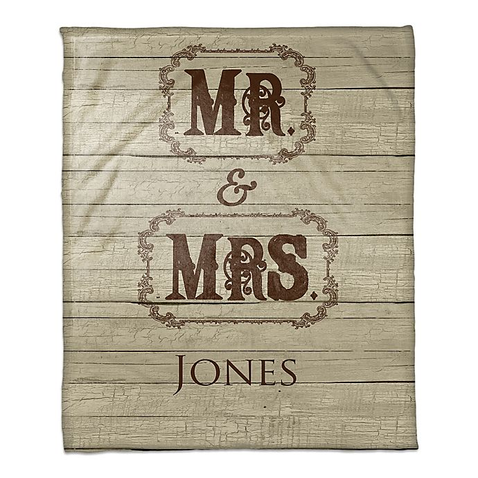 Alternate image 1 for Mr. and Mrs. Throw Blanket in Brown/Beige