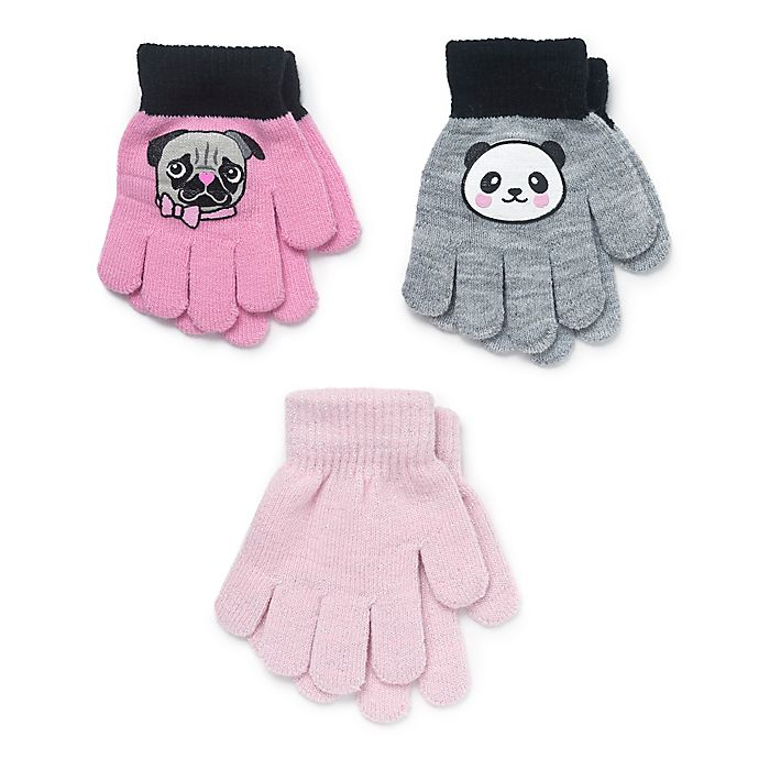 Alternate image 1 for Berkshire 3-Pack Panda and Dog Gloves in Pink