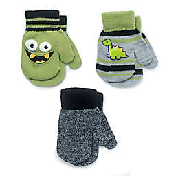 Berkshire Newborn 3-Pack Dino Fashion Mittens in Green