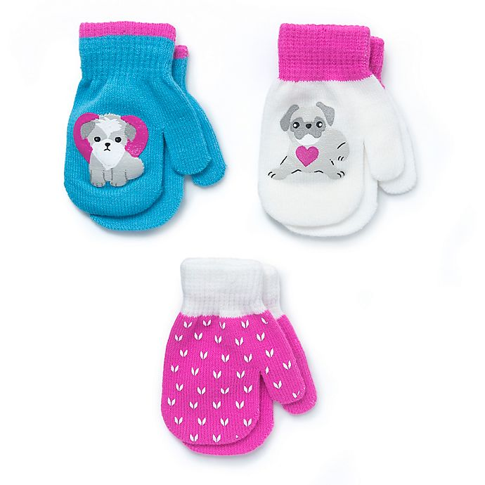 Alternate image 1 for Berkshire 3-Pack Dogs Fashion Mittens in Pink
