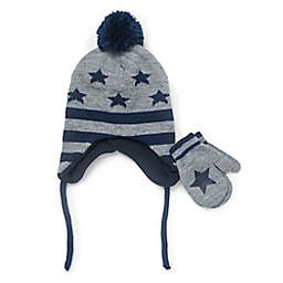 Berkshire Newborn 2-Piece Stars Hat and Mitten Set in Grey