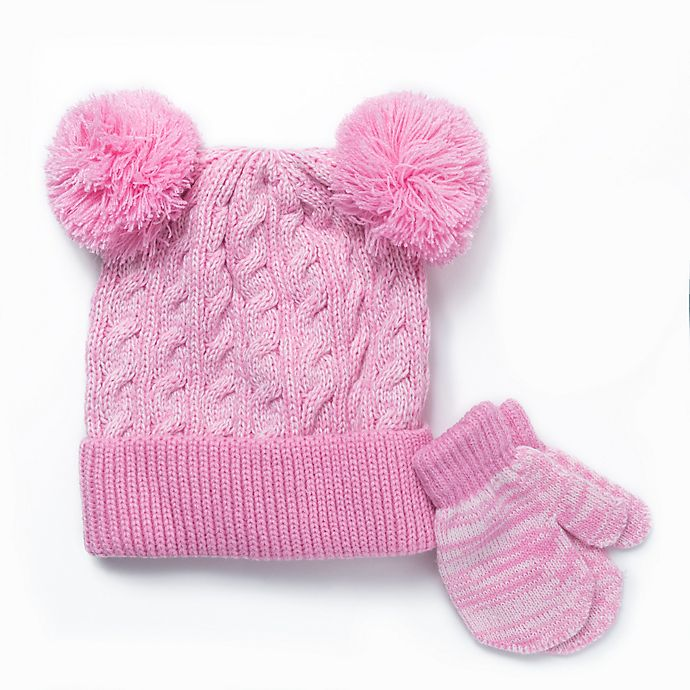 Alternate image 1 for Berkshire 2-Piece Fashion Hat and Mitten Set in Pink