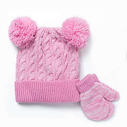 Berkshire 2-Piece Fashion Hat and Mitten Set in Pink
