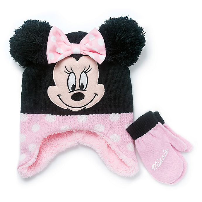 Alternate image 1 for Disney® 2-Piece Minnie Mouse Hat and Mitten Set in Pink