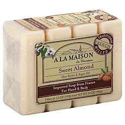 A La Maison de Provence 4-Pack 3.5 oz. Sweet Almond Bar Soaps for Hand & Body