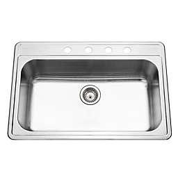 Houzer Premiere Gourmet Series PGS-3122-4-1 Topmount Single Bowl Kitchen Sink