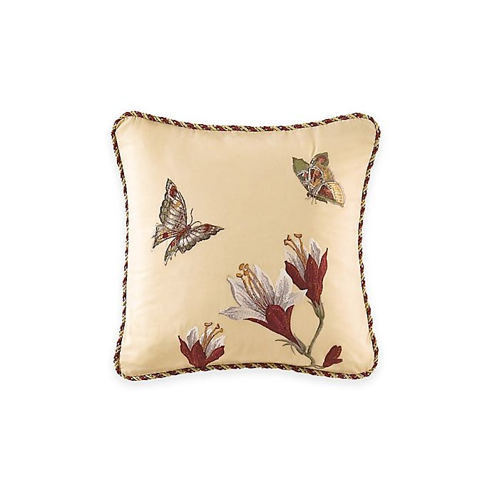 Alternate image 1 for Waverly® Laurel Springs Embroidered Square Throw Pillow in Parchment