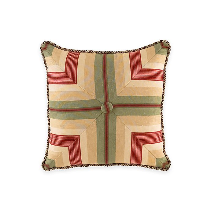 Alternate image 1 for Waverly® Laurel Springs Button Tufted Square Throw Pillow in Parchment