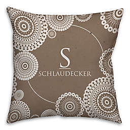 Lace Printed Square Throw Pillow in Brown/White