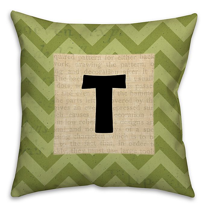 Alternate image 1 for Text Accented Chevron Square Throw Pillow in Green