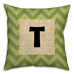 Text Accented Chevron Square Throw Pillow in Green