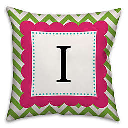 Chevron Frame Square Throw Pillow in in Pink/Green