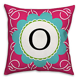 White Rings Square Throw Pillow in Pink