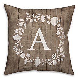 White Flower Wreath 16-Inch Square Throw Pillow in Brown