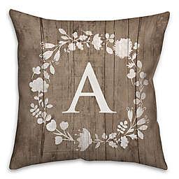White Flower Wreath Square Throw Pillow