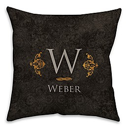 Golden Damask 16-Inch Square Throw Pillow in Black