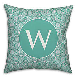 Trendy Medallion Square Throw Pillow in Blue/White