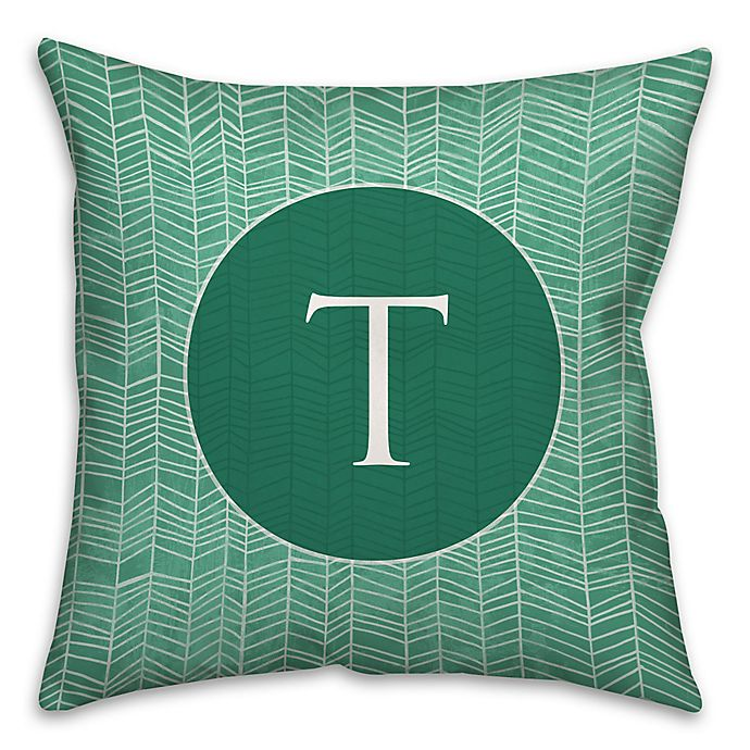 Alternate image 1 for Neutral Zigzag 16-Inch Square Throw Pillow in Green/White