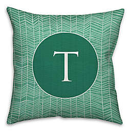 Neutral Zig Zag Square Throw Pillow in Green/White