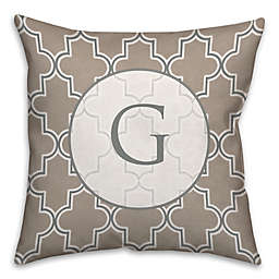 Neutral Quatrefoil Square Throw Pillow in Brown/White