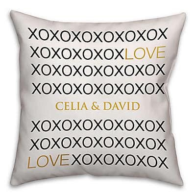 Love Hugs & Kisses Square Throw Pillow in White/Black