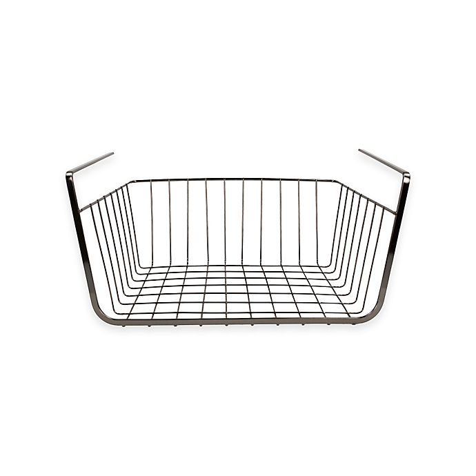 Buy Home Basics® Small Under Shelf Wire Basket in Onyx