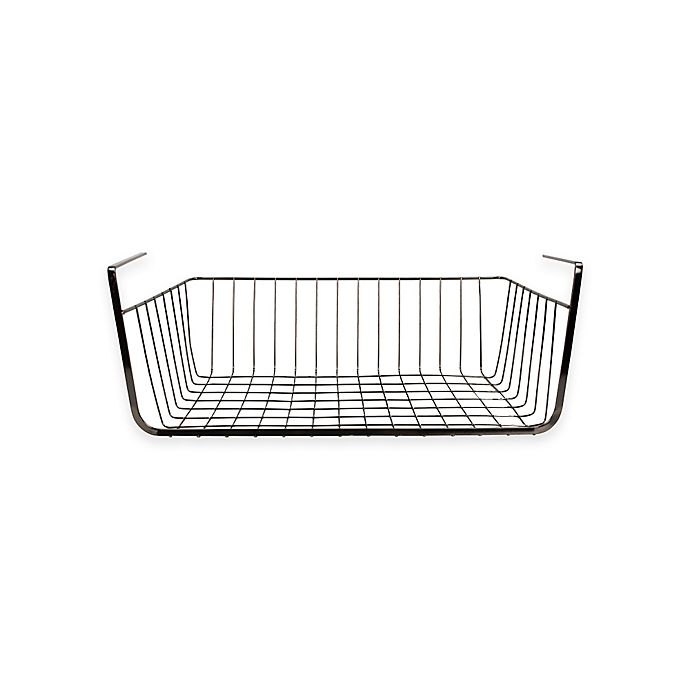 Alternate image 1 for Home Basics® Large Wire Under Shelf Wire Basket in Onyx
