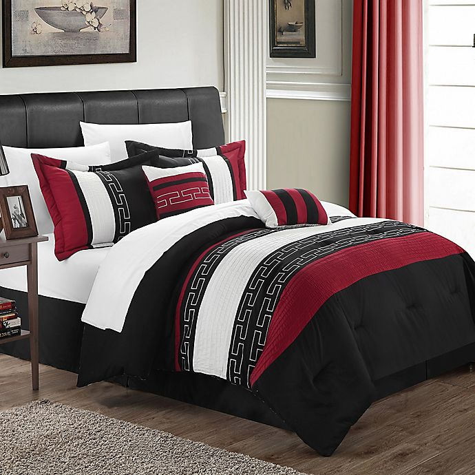 Alternate image 1 for Chic Home Coralie 6-Piece King Comforter Set in Black