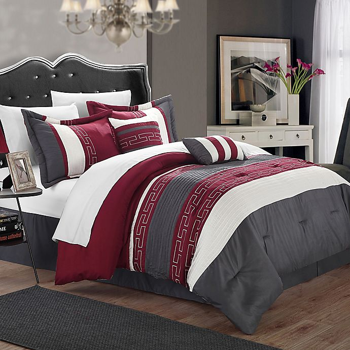 Alternate image 1 for Chic Home Coralie 10-Piece Queen Comforter Set in Burgundy