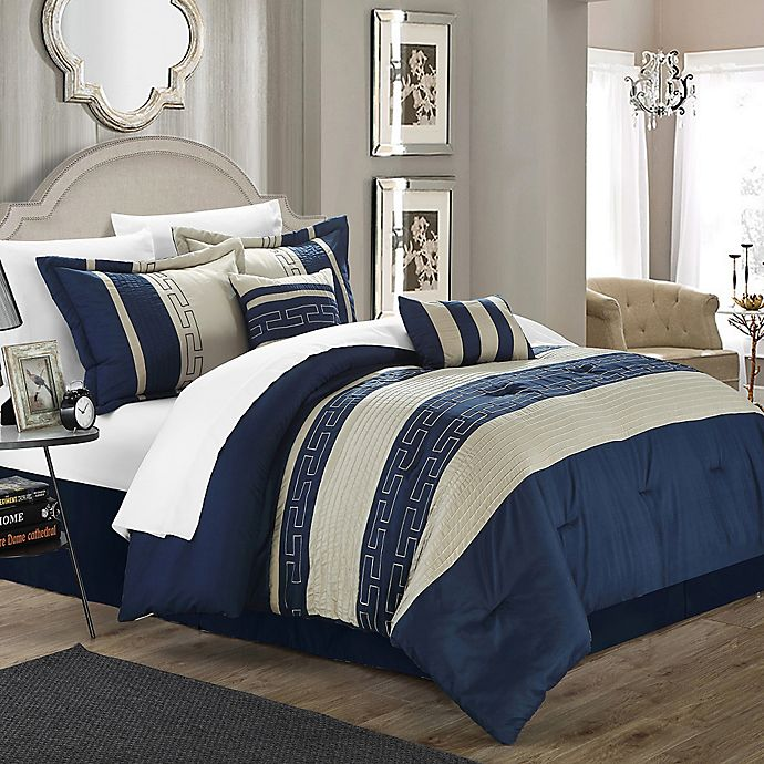 Alternate image 1 for Chic Home Coralie 10-Piece King Comforter Set in Navy