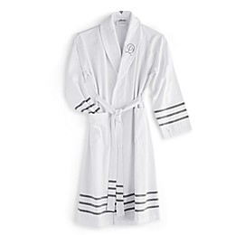 The Pillow Bar® Grey Stripe Turkish Towel Bathrobe in White