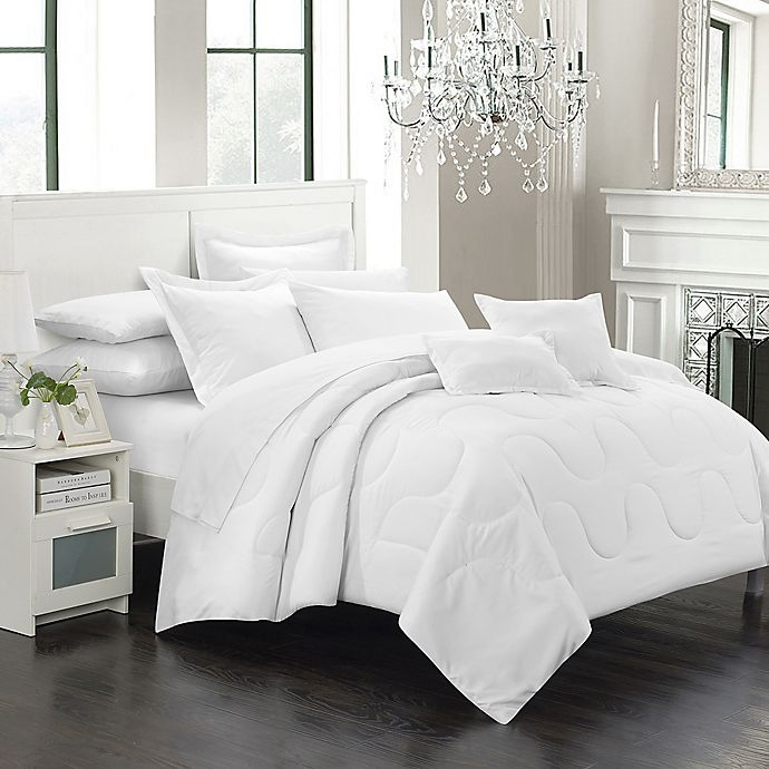 Alternate image 1 for Chic Home Dinarelle 5-Piece Twin Comforter Set in White