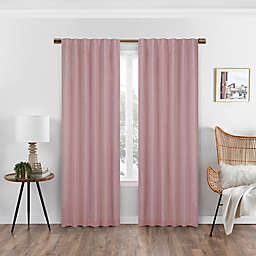 Eclipse Nora Solid 108-Inch Rod Pocket/Back Tab 100% Blackout Curtain Panel in Rose (Single)
