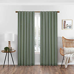 Eclipse Nora Solid 108-Inch Rod Pocket/Back Tab 100% Blackout Window Curtain Panel in Sage