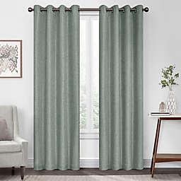 Eclipse Kira Herringbone 108-Inch Grommet 100% Blackout Curtain Panel in Celadon (Single)