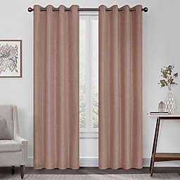 Eclipse Kira Herringbone 108-Inch Grommet 100% Blackout Window Curtain Panel in Clay (Single)