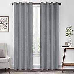 Eclipse Kira Herringbone 84-Inch Grommet 100% Blackout Window Curtain Panel in Grey (Single)