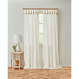 Global Caravan Tangier 95-Inch Rod Pocket/Back Tab Window Curtain Panel in White