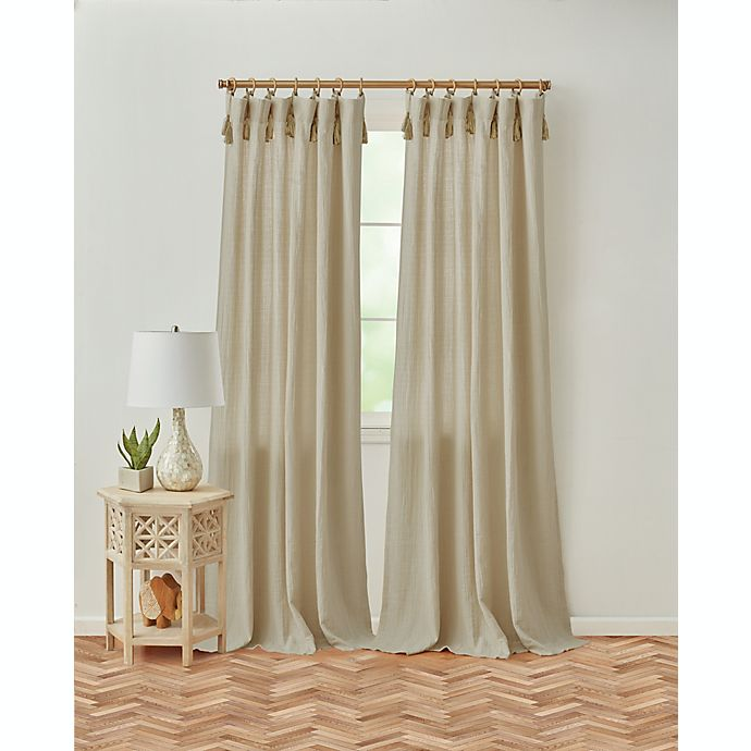 Alternate image 1 for Global Caravan Tangier 95-Inch Rod Pocket/Back Tab Window Curtain Panel in Linen