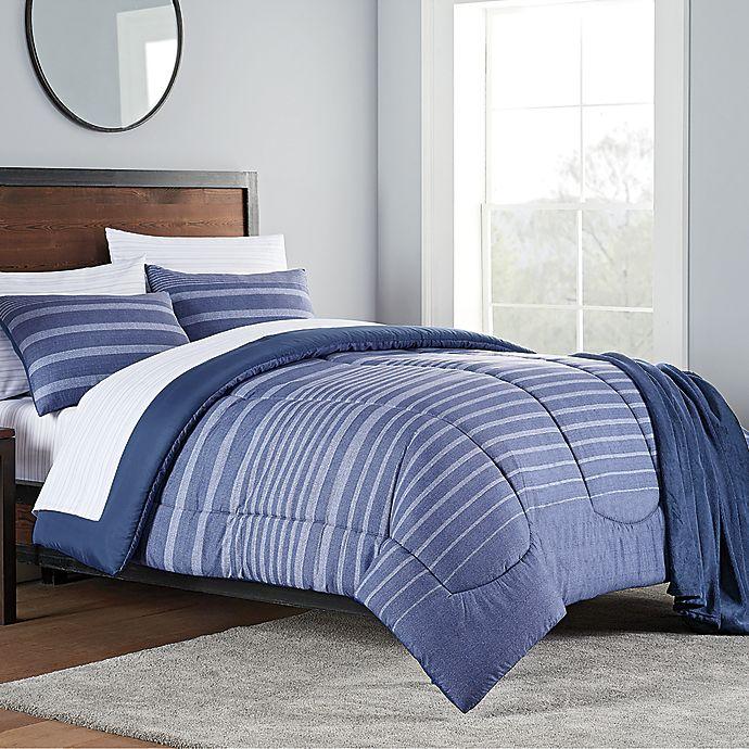 Liam 8 Piece Comforter Set In Navy Bed Bath Beyond