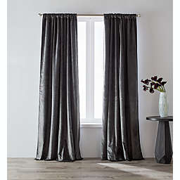 O&O by Olivia & Oliver™ 63-Inch Luster Velvet Curtain Panel in Charcoal (Single)