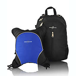 Obersee Rio Diaper Bag Backpack with Detachable Cooler in Black/Royal Blue