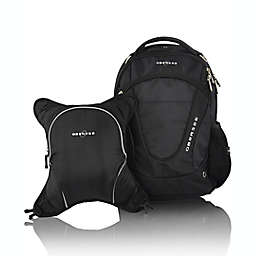 Obersee Oslo Diaper Bag Backpack and with Detachable Cooler in Black