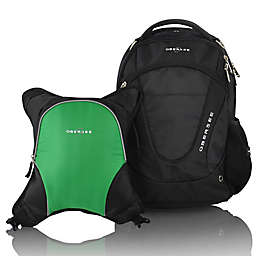 Obersee Oslo Diaper Bag Backpack with Detachable Cooler in Black/Green