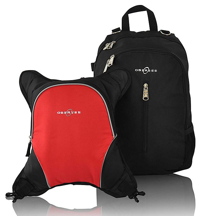 Alternate image 1 for Obersee Rio Diaper Bag Backpack with Detachable Cooler in Black/Red