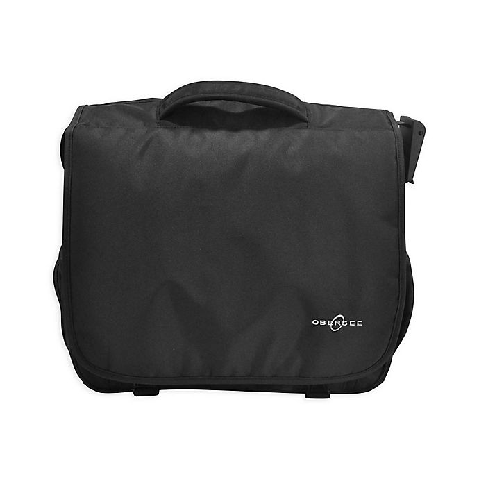 Alternate image 1 for Obersee Madrid Convertible Diaper Messenger Bag with Viola Changing Kit in Black